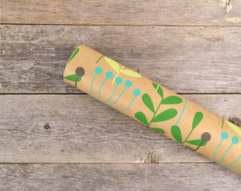 "Scandinavian Botanical Print Wrapping Paper / Recycled Kraft Gift Wrap / Green Leaves Kraft Paper - 24"" x 30"" - 2 rolled sheets"