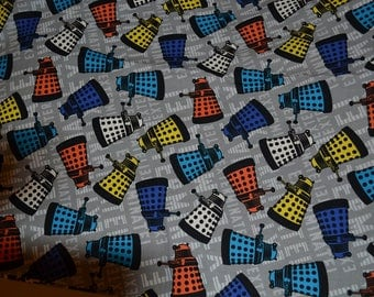 "DR WHO DARLEKS Fabric 15"" x 42""   100% Cotton Fabric"