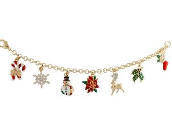 Gold plated Christmas charm bracelet