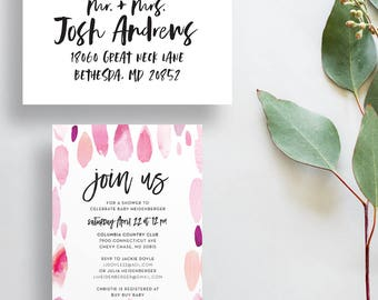 watercolor strokes baby shower invites // pink watercolor // fun summer party invites // paint strokes // hand lettered // printed invites