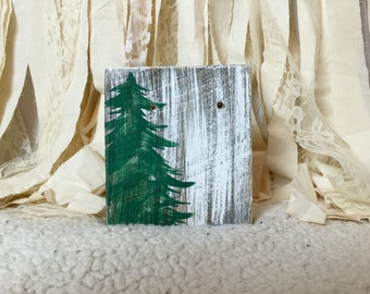 Evergreen tree winter decor block / Christmas  sign / holiday decoration