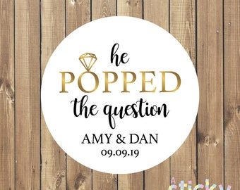 Personalized He Popped the Question Stickers, Wedding Stickers, Popped the Question, Engagement Party Stickers, Engagement Favours, Popcorn