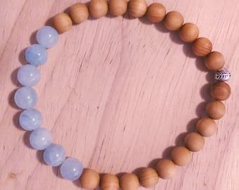 Aquamarine Sandalwood Hill tribe silver elastic bracelet, gemstone bracelet