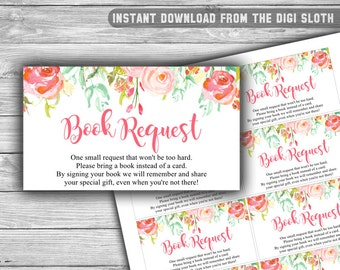 Floral - Pink - Baby Shower - Book Request - Cards - PRINTABLE - INSTANT DOWNLOAD - Invitation Inserts - Books For The Baby - 060