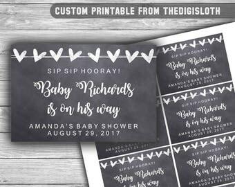 Custom - Chalkboard - Baby Shower - Mini Champagne Labels - Printable - diy - SIP SIP HOORAY - Chalk Hearts - Labels - 041