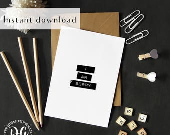 Printable Minimal apology card, I am sorry card, simple apology card, simple sympathy card, rustic card, kraft paper card, minimal sympathy