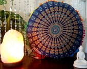 Blue Mandala Pillow Mandala Round Pillow Mandala Round Cushion Round Cushion  Bohemian Pillow Mandala bed Pillows housewarming Gift