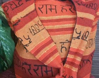 Brick Red Sanskrit chant  Bohemian Sling Cross body Canvass  Bag