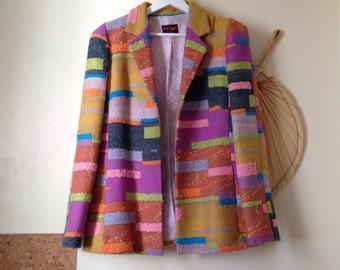 CHRISTIAN LACROIX Bazar jacket blazer vintage Paris french 90 s 90s Tweed multicolor patchwork 42 / L
