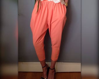 CACHAREL pants harem pants mom large vintage french 80 s / 90 s orange salmon (XS - 34/36)