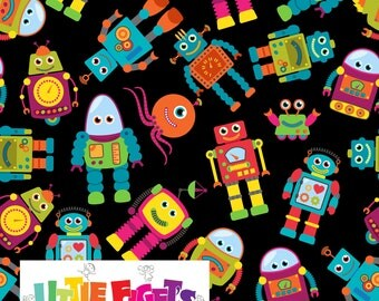 Robots Jersey Knit Fabric UK Custom Print In Stock