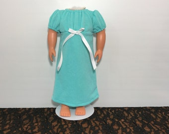 18 Inch Doll Outfit, Doll Dress, American Made, Girl Doll Dress, Doll Clothes 18 Inch, Green Doll Dress, White Ribbon