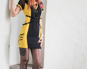 FREE SHIPPING! Handmade Yellow/Black Dress with Leather Straps with Two O-rings and Hand Painted Bats