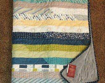 Sunday Supper Moda Throw Quilt | Strip Quilt | Minky | Navy, blue, green | kitchen, utensils, geometric