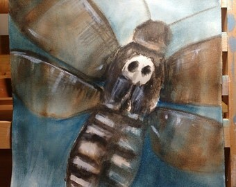 Watercolour - Hawk Moth - 7x7.5
