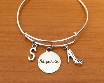 SALE Shopaholic bracelet, stiletto jewelry, shopping jewellery, personalised shopper jewelry, shopaholic gift, fashion gift