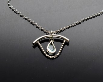 Faceted Topaz Gemstone Sterling Silver Necklace Pendant