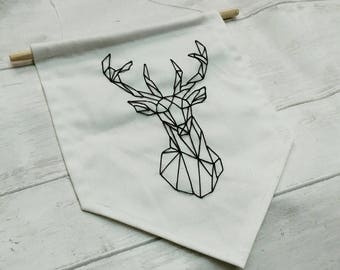 Geometic stag banner, hand embroidered flag, hanging deer sign, unique wall decor, modern monochrome art, woodland, gift for him, for her