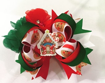 5 inch OTT boutique bow with Gingerbread theme