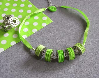 Sewing collar, coil collar, necklace 5 sewing machine cans and polymer clay (fimo) threads anise green, green necklace