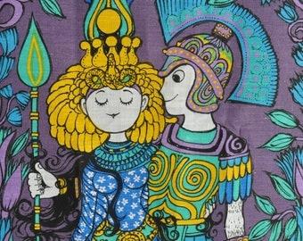 Belinda Lyon Antony and Cleopatra Tea towel Wall hanging Oxfam Blue colourway 1970s