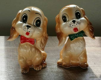 Vintage Commodore Bow Tie Puppy Dog Salt and Pepper Shakers