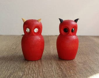 Vintage Wooden Owl Salt and Pepper Shakers