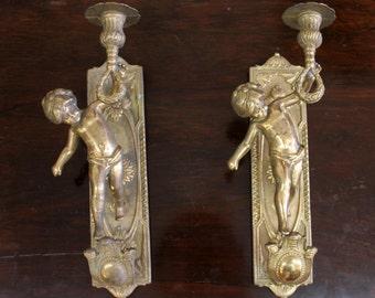 Antique 1920s Brass Sconces with Cherub Figures