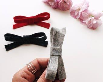 Hair clips | 3 Handmade 100% felt bow hair clips, school bows, hair clips, hair bows