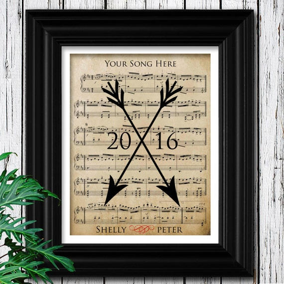 Wall Decoration For Wedding Anniversary : Husband gift office wall decor wedding sheet music art