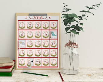Printable Advent Calendar, Countdown to Christmas, Scripture instant download