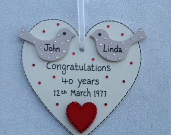 40th Ruby Wedding Anniversary Heart Gift