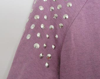 Cropped Purple Studded Shoulder Jumper Sweater