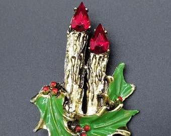 Vintage Gold Tone Christmas Candle Brooch with Holly Leaves and Rhinestones