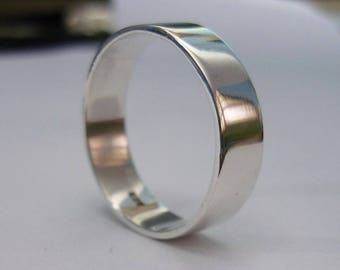 6 mm Wide Band ring, Plain Ring, Wedding Ring, Simple Ring, Plain Band Ring 925 Sterling Silver Thailand Hand Made Silver Ring