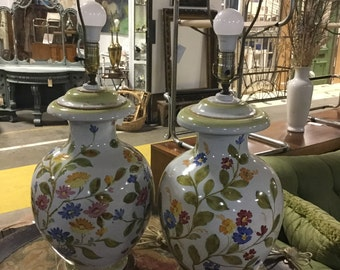 SOLD: Ca.1960s Hand Painted Italian Ceramic Lamps