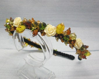Bridal flower crown Boho hairpiece Woodland wedding Crystal hairpiece Flower crown Crystal tiara Forest wedding Olive jewellery Brown