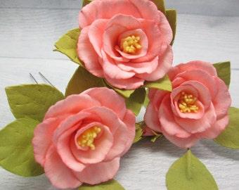 Birthday gift Bride accessory Flower wedding Best friend gift Bridesmaid floral Bridal pins Wedding rose Pink bridal floral Hair pins