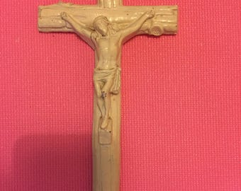 Vintage White Wooden Crucifix/Cross, Made in France