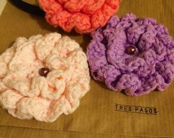 Handmade crocheted flower diadem. Color diadem. Three flower diadem. Cotton yarn flowers.