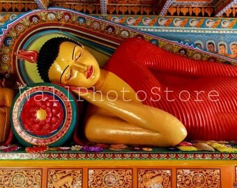 Buddha Photography, Buddha Statue, Anuradhapura, Sri Lanka Photography, Travel Photography, Red, Fine Art Photography, Wall Art Print