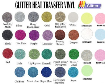 "12"" x 20"" Glitter Heat Transfer Vinyl- 30 Colors Available"