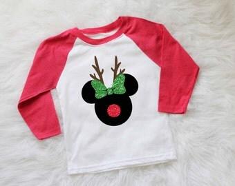 childrens disney christmas shirt minnie mouse reindeer shirt mickey mouse reindeer shirt disney holiday shirt personalized christmas shirt