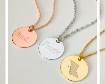 Baby name necklace, roman numerals necklace, coin disk necklace, state province necklace, date necklace, gift for her, grandma mom gift