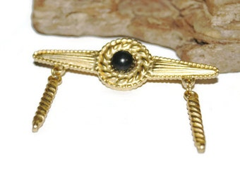 Gold and Black Lapel Pin from the Eighties, Bar Pin, Bar Brooch, Black and Gold Jewelry, Large Brooch, Long Brooch, Vintage Jewellery