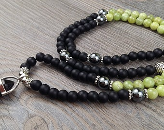Mala, necklace 108 stones, black onyx, péridot - black onyx pendent