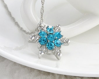 Frozen Inspired Blue Sparkle Snowflake Necklace
