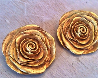 Vintage Kate Hines Signed Gold Rose Clip Earrings