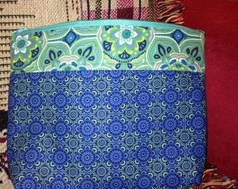 Blue and Green Zipper Pouch