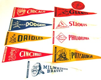 Vintage Bazooka Baseball Felt Pennants, Bazooka Bubble Gum 1960s Mini Pennant Flags, Lot of Vintage Baseball Pennants, World Series Winners